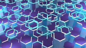 Il fondo geometrico di animazione con il blu astratto di esagoni, l'animazione va senza cuciture illustrazione vettoriale