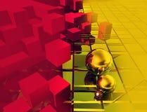 Il fondo giallo rosso e cuba una sfera Fotografie Stock Libere da Diritti