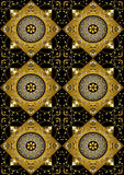 Il fondo nero del rombo dell'oro con oro fiorisce Immagine Stock Libera da Diritti