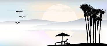 Il fondo, ombrello, sdraio sta facendo una pausa il mare illustrazione di stock