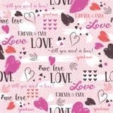 Il fondo rosa con il cuore rosso del biglietto di S. Valentino ed i desideri mandano un sms a royalty illustrazione gratis