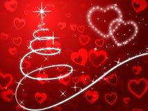 Il fondo rosso dell'albero di Natale mostra le feste e l'amore Fotografia Stock