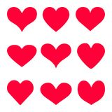 Il fondo rosso dell'icona di vettore del cuore ha messo per il giorno del ` s del biglietto di S. Valentino, l'illustrazione medi Fotografia Stock