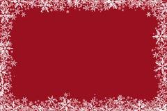 Il fondo rosso di Natale Stars i fiocchi di neve Fotografie Stock Libere da Diritti