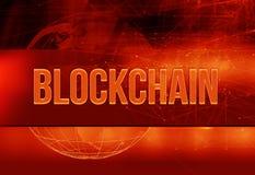 Il fondo rosso di tema del blockchain grafico con il collegamento allinea Immagini Stock Libere da Diritti