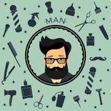 Il fondo senza cuciture d'annata del negozio di barbiere con il barbiere accsessorizes con il carattere dei pantaloni a vita bass Fotografia Stock