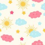 Il fondo senza cuciture del modello del ` s dei bambini con il Sun, la nuvola e le stelle Vector l'illustrazione Immagine Stock