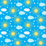 Il fondo senza cuciture del modello del ` s dei bambini con il Sun, la nuvola e le stelle Vector l'illustrazione Fotografia Stock