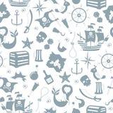Il fondo senza cuciture dell'argomento di pirateria e del viaggio marittimo, grey profila le icone su un fondo bianco Immagini Stock Libere da Diritti