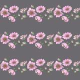 Il fondo senza cuciture della piccola rosa canina selvatica fiorisce con stile di boho del modello dei germogli illustrazione vettoriale