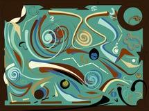 Il fondo variopinto astratto, immagina il beige di marrone di forme curve sul blu Immagine Stock