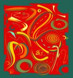 Il fondo variopinto astratto, immagina il giallo di verde di forme curve su rosso Immagini Stock
