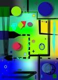Il fondo variopinto astratto, luce verde, geometrics operato modella pricipalmente i cerchi Fotografia Stock