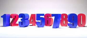 Il fondo variopinto 3d di numeri rende l'illustrazione 3d Immagini Stock