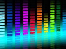 Il fondo variopinto di Soundwaves mostra le canzoni musicali ed il DJ Fotografia Stock