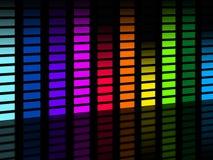 Il fondo variopinto di Soundwaves significa la musica ed il partito di frequenze Immagini Stock