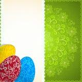 Fondo verde di Pasqua con le uova dell'ornamento Immagine Stock Libera da Diritti