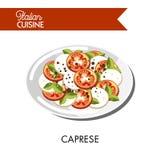Il formaggio italiano della mozzarella di cucina di Caprese e l'insalata tradizionale del pomodoro vector l'icona Immagine Stock