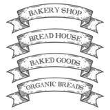 Il forno cuoce il nastro dell'emblema del mercato del negozio Incisione d'annata dell'insieme medievale monocromatico Immagini Stock Libere da Diritti