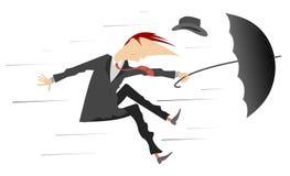 Il forte vento e l'uomo con il cappello e l'ombrello hanno isolato l'illustrazione Immagini Stock