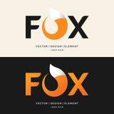 Il Fox dell'iscrizione, il logo moderno e l'emblema Fotografia Stock