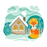 Il Fox e la casa Illustrazione di Natale immagine stock
