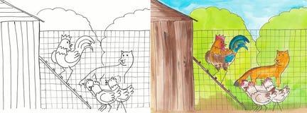 Il Fox e la gallina Fotografia Stock Libera da Diritti