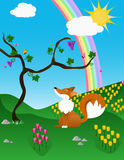 Il Fox ed il Rainbow royalty illustrazione gratis