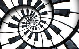 Il frattale astratto insolito del fondo di spirale della tastiera di piano gradisce la scala senza fine Le chiavi in bianco e ner immagini stock libere da diritti