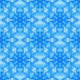Il frattale blu ha basato le mattonelle senza cuciture con un modello del fiocco di neve di griglia di esagono Fotografia Stock Libera da Diritti