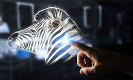 Il frattale commovente della persona ha messo in pericolo il renderi dell'illustrazione 3D della zebra Immagini Stock