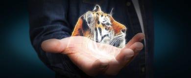 Il frattale della tenuta della persona ha messo in pericolo il renderi dell'illustrazione 3D del tinger Fotografia Stock