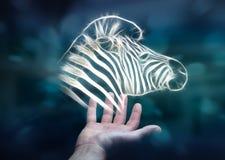 Il frattale della tenuta della persona ha messo in pericolo il renderin dell'illustrazione 3D della zebra Fotografia Stock Libera da Diritti