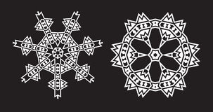 Il frattale etnico Mandala Vector assomiglia al fiocco di neve o a Maya Aztec Fotografie Stock