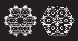 Il frattale etnico Mandala Vector assomiglia al fiocco di neve o a Maya Aztec Fotografia Stock Libera da Diritti