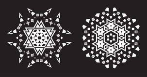 Il frattale etnico Mandala Vector assomiglia al fiocco di neve o a Maya Aztec Fotografie Stock Libere da Diritti