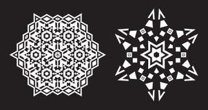 Il frattale etnico Mandala Vector assomiglia al fiocco di neve o a Maya Aztec Immagine Stock Libera da Diritti
