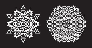 Il frattale etnico Mandala Vector assomiglia al fiocco di neve o a Maya Aztec Fotografia Stock