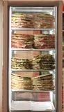 Il frigorifero con i lotti dei panini farciti ha chiamato Spianata o Fotografia Stock Libera da Diritti