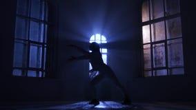 Il fronte del ballerino di balletto della donna allo spettatore fa il passo di danza, siluetta stock footage