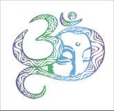 Il fronte del Buddha è inscribed nel OM Illustrazione di colore buddhism idea del tatuaggio illustrazione vettoriale