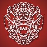 Il fronte del dio mitologico Tradizione di balinese Barong Fotografie Stock Libere da Diritti