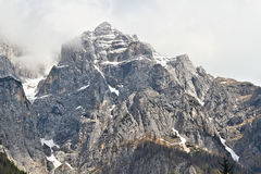 Il fronte del nord imponente di Triglav, Slovenia Fotografie Stock