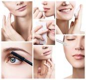 Il fronte del ` s della donna con le frecce di sollevamento ed i cosmetici lubrificano Fotografia Stock