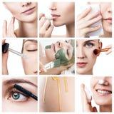 Il fronte del ` s della donna con le frecce di sollevamento ed i cosmetici lubrificano Immagini Stock