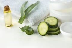 Il fronte dell'aloe e del cetriolo, la pelle e l'ente crema cosmetici si preoccupano la lozione dell'umidità di igiene Immagini Stock Libere da Diritti