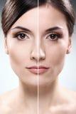Il fronte della donna prima e dopo retouch fotografie stock