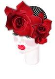 Il fronte della ragazza con un diadema delle rose illustrazione di stock
