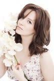 Il fronte di bella donna con pelle perfetta Immagine Stock