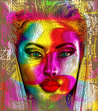 Il fronte di colore Una creazione digitale moderna di arte del fronte di una donna con i nastri variopinti Fotografia Stock